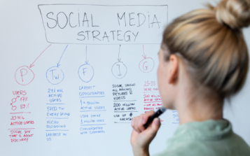 woman working on social media and influencer marketing strategy plan